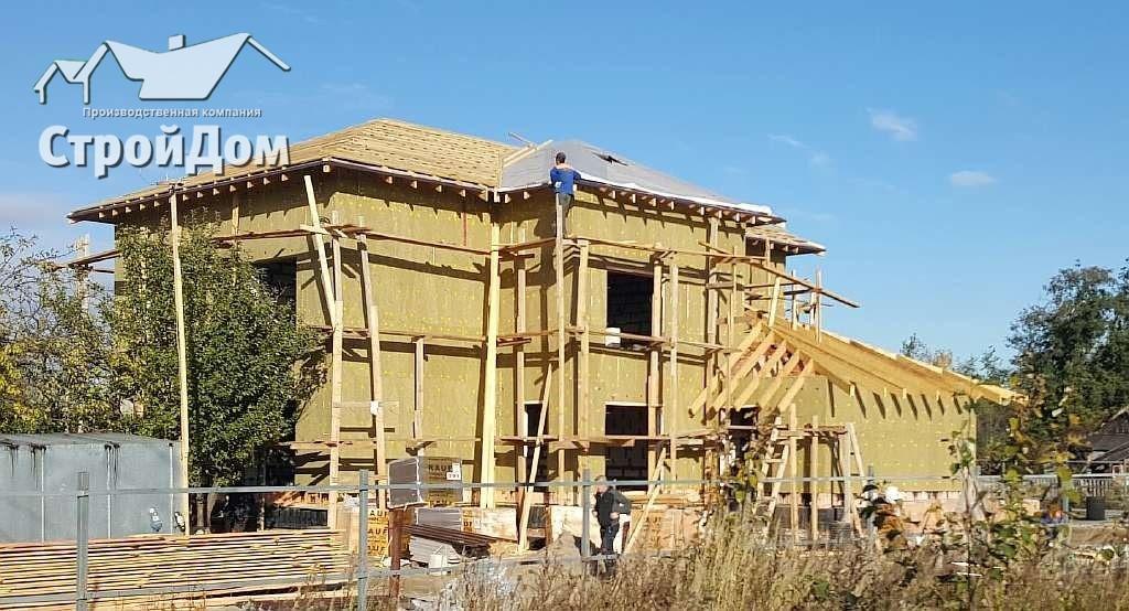 Строительство загородного дома из газобетона, утепление фасадов