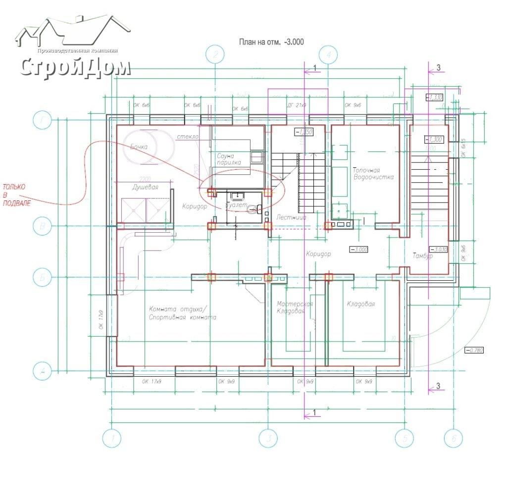 План цокольного этажа из проекта загородного дома