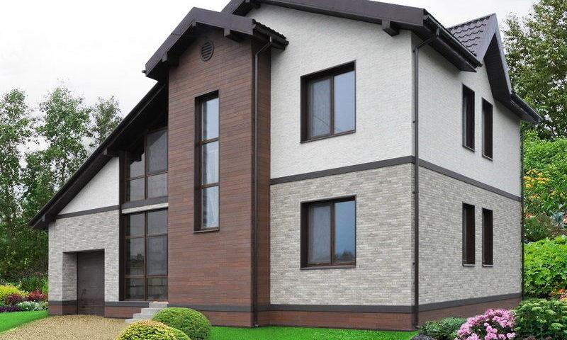 Внешняя отделка коттеджа фасадными панелями Nichiha